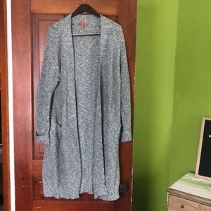 Blue and white duster cardigan, ModCloth, 1X